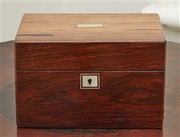 Sale 9108H - Lot 33 - An antique rosewood document box with hinged lid Height 17cm x Width 27.5cm x Depth 20cm, no key
