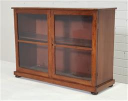 Sale 9162 - Lot 1071 - Victorian Table Top Display Cabinet, with two astragal glass doors, raised on bun feet (h:51 x w:70 x d:24cm)