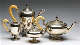Sale 9175 - Lot 22 - A Modern Italian Empire Style Tea/Coffee Service With Ivory Handles (combined wt 2.22kg) (H: coffee pot 25cm)