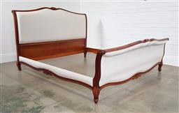 Sale 9210 - Lot 1008 - French style fabric upholstered king size bed frame (h:125 x w:194 x d:210cm)