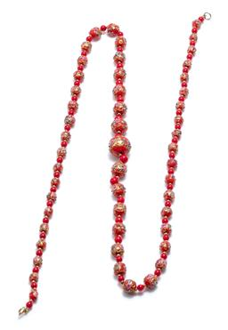 Sale 9253J - Lot 366 - A HANDMADE VINTAGE GLASS BEAD NECKLACE; graduated 7 - 19mm round dark orange beads with gilt and coloured overlay highlights each sp...