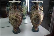 Sale 7977 - Lot 14 - Pair of Large Early 20th Century Satsuma Vases with Reserves of Bijin, restoration