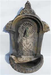 Sale 8256A - Lot 72 - A vintage composition stone garden wall fountain fitted with a copper spout. Some edge chips. Overall Ht: 85 cm