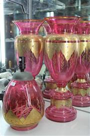 Sale 8261 - Lot 55 - Cranberry Glass Pair of Vases with a Matching Vase (1 vase with crack)