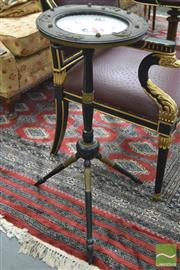 Sale 8282 - Lot 1058 - 19th Century Ebonised & Gilt Small Occasional Table, with inset porcelain dish, on three splayed feet.