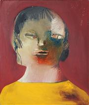 Sale 8410A - Lot 5069 - Anne Hall (1945 - ) - Untitled (Sitter in Yellow) 53 x 46cm