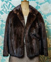 Sale 8420A - Lot 50 - A vintage chocolate brown mink jacket, size: M, featuring beautiful burgundy shantung lining, condition: excellent
