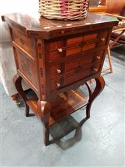 Sale 8688 - Lot 1080 - Inlaid 3 Drawer Bedside with Shelf Below