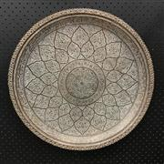 Sale 8699A - Lot 748 - Large Indian Copper Circular Tray, diameter 65cm; and a smaller example (2, both fitted with wall mounts)