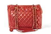 Sale 8742 - Lot 346 - A VINTAGE CHANEL QUILTED RED LEATHER TOTE SHOULDER BAG; lamb skin with gilt metal hardware, internal sticker no. 0839610, 1987-88, c...