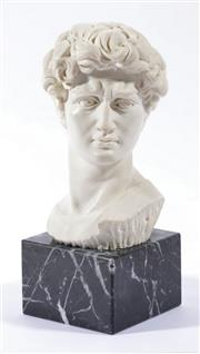 Sale 9003 - Lot 4 - Composite Bust on Marble Base, Possibly David H: 24cm