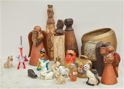 Sale 9108H - Lot 34 - A collection of sundries including elephants, Indonesian figures and animals, Talllest 15cm