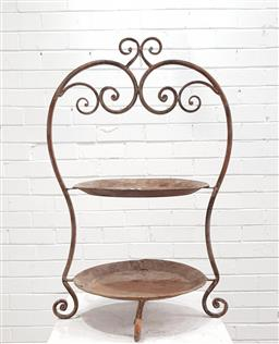 Sale 9102 - Lot 1274 - Ornate metal tiered stand (h79 x d47cm)