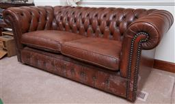 Sale 9103H - Lot 42 - A two seater Chesterfield lounge, Height 74cm x Width 180cm x Depth 89cm