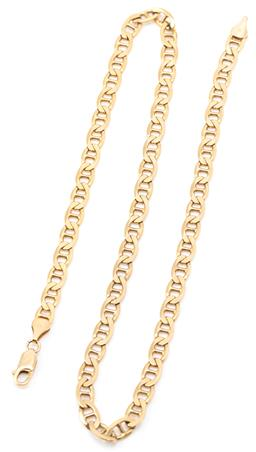 Sale 9149 - Lot 526 - A 9CT GOLD CHAIN; 6mm wide anchor link chain to parrot clasp, length 50cm, wt. 25.91g.