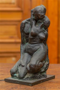 Sale 9160H - Lot 57 - A resin figural group of lovers, signed to rear Luke, 70, Height 34cm