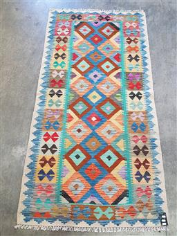 Sale 9174 - Lot 1355A - Hand knotted pure wool Persian bohemian kilim (200 x 102cm)