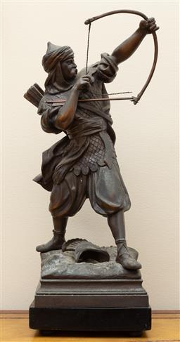 Sale 9190W - Lot 67 - A French spelter figure of a Crusader with bow an arrow. Height 46cm