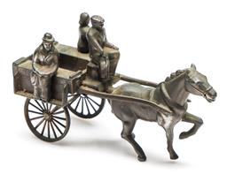 Sale 9246 - Lot 49 - A bronze on copper horse and cart figural group (L:15cm)