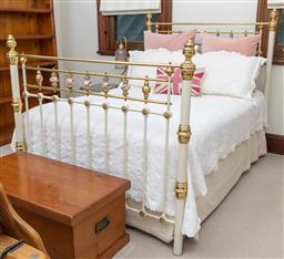 Sale 9260M - Lot 70 - A metal antique style bed with brass and porcelain fittings H 144cm L 192cm W 142cm, complete with mattress and bedding