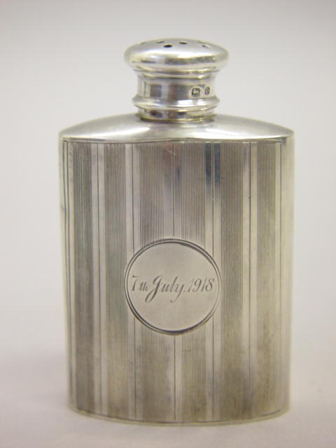 Sale 3545 - Lot 3 - A HALLMARKED SILVER TALCUM POWDER BOTTLE;