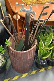 Sale 8156 - Lot 1031 - Basket of Sticks, Tripod and Other Collectables