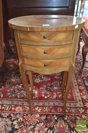 Sale 8255 - Lot 1046 - Small French Style Marquetry Bedside Cabinet, of oval form & with three drawers