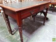 Sale 8485 - Lot 1072 - Late Victorian Walnut Desk, with green tooled leather top, two drawers & turned legs (slight veneer losses)