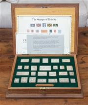Sale 8694A - Lot 13 - A cased set of limited edition sterling silver Stamps of Royalty by Hallmark Replicas set no 1374