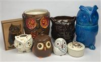 Sale 8725A - Lot 51 - A group of ceramic owl containers together with a copper art and timber box.