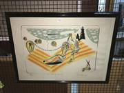Sale 8779 - Lot 2062 - Colin Lanceley - The Fall of Icarus 1987 lithograph, ed. 62/100, 56 x 75cm (frame), signed -