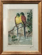 Sale 8789 - Lot 2096 - Artist Unknown - Two Parrots Perched, watercolour (AF), 40 x 31.5cm (frame size), signed and dated 12.11.28 lower left