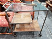 Sale 8904 - Lot 1036 - Tiered Metal Serving Trolley with Glass Top (H: 82 L: 77 W: 44cm)