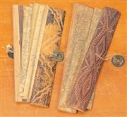Sale 8976H - Lot 67 - Two thai/burmese bamboo and paper booklets with scenes and text. Longest 23cm