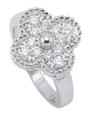 Sale 8999 - Lot 391 - AN 18CT WHITE GOLD DIAMOND LUCKY RING; quatrefoil clover set with 12 round brilliant cut diamonds totalling 0.42ct, with fake VCA ma...