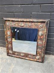 Sale 9006 - Lot 1022 - Timber Framed Mirror with Shell Decal (68 x 66cm)