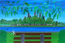 Sale 9038A - Lot 5012 - Doug Frith (1962 - ) - A Bench to Relax on in the Parklands 2020 61 x 91 cm