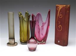 Sale 9098 - Lot 189 - Collection of 5 Art Glass Vases incl. GRAL German example (H30.5cm)