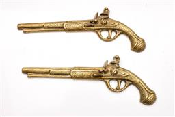 Sale 9098 - Lot 347 - Pair of Brass Wall Hung Muskets (L;33cm)