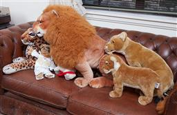 Sale 9103H - Lot 43 - Lions and Tigers and Bears, Oh my! A group of soft toys. largest length 82cm