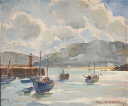 Sale 9125 - Lot 581 - Max Middleton (1922 - 2013) St Ives Harbour, 1951 oil on board 24.5 x 29.5 cm (frame: 37 x 42 x 3 cm) signed and dated lower right