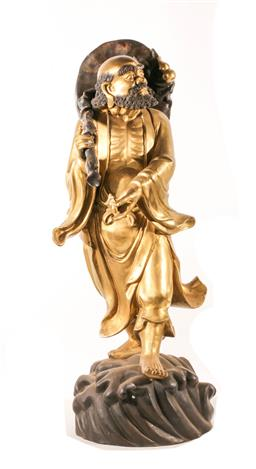 Sale 9122 - Lot 192 - Large Chinese Brass Figure of a Travelling Man Holding Sack (H:89cm)