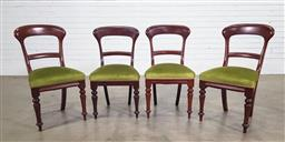 Sale 9188 - Lot 1272 - Four Edwardian dining chairs with sprung seats and green velvet upholstery, each height 89cm