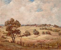 Sale 9256A - Lot 5157 - WILL CLARKE Robertson Village, Southern Highlands, 1956 oil on canvas board 38 x 46 cm (frame: 50 x 58 x 4 cm) signed and dated lowe...