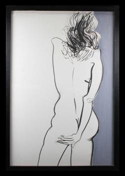Sale 7923 - Lot 547 - Frank Malerba - Standing Nude mixed media on paper