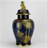 Sale 8139 - Lot 5 - Carlton Ware Bleu Royale Lidded Temple Jar