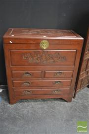 Sale 8251 - Lot 1014 - Carved Oriental Chest with trunk top and three drawers below