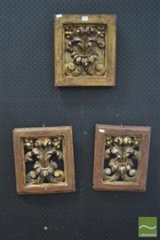 Sale 8291 - Lot 1086 - Three Antique Painted & Carved Timber Panels, of pierced  fleur-de-lys