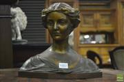 Sale 8359 - Lot 1002 - Edwardian Gilt Bronze Bust of a Young Woman, signed Kreuchel, crowned by a rose wreath (H 24 x W 28 x D 14cm)