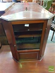 Sale 8485 - Lot 1085 - Late 19th/ Early 20th Century Small Corner Wall Cabinet, with single glass panel door
